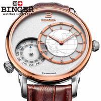 new 2014 Binger accusative watch watches men luxury brand male leather strap watches fully-automatic men fashion quartz watch