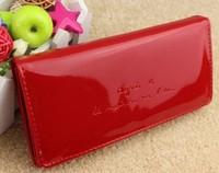 Women patent leather candy coin purse women's medium-long wallet
