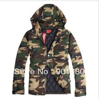 new fashion supreme green camouflage men hooded cotton jacket Parkas coat free shipping