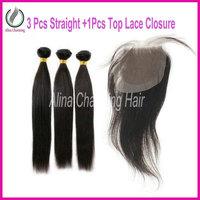 "Free Shipping 5a Unprocessed Virgin Malaysian Hair 3 Bundles With 1Pcs 4""*4""Silk Base Lace Top Closure 4Pcs/lot Human Extensions"