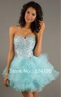 2014 new Amazing jeweled light blue short tulle prom dress sweet 16 party damas dress Style NA-2832 free shipping