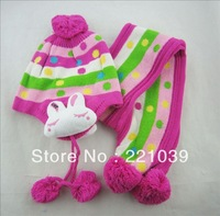 winter 1-6 ago kid's hat baby hat with Scarf set girl and boy worm hat Ear cap  free of shipping wholesale