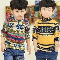 Cute Snowflake Child Sweatshirts Thickening Velvet Boy long-sleeve Sweatshirt Infant Boy's Turtleneck Shirt for 2--5 years