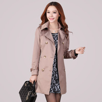 2013 autumn trench women's mm overcoat slim women's plus size long design trench outerwear