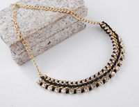 most popular for 2014 spring wire wrapped rhinestone choker necklace with big stock free shipping with gift