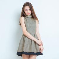 2013 autumn women's small sweet o-neck sleeveless one-piece dress woolen tank dress