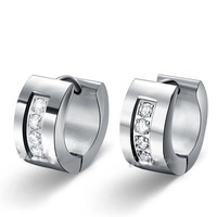 Sparkle CZ Stone Hoop Earrings For Women,316L Stainless Steel With Cubic Zirconia Earring,Min order is $15 Free Shipping