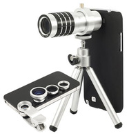 N7100  Note2 phone fisheye wide angle macro telephoto telescope 12 times 4 in 1 Lens Kit