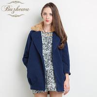 2013 medium-long fur collar woolen outerwear woolen overcoat female