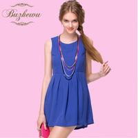 Chiffon one-piece dress 2013 slim sleeveless one-piece dress chiffon one-piece dress 2013