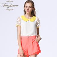 Short-sleeve chiffon shirt 2013 women's short-sleeve female peter pan collar chiffon shirt female