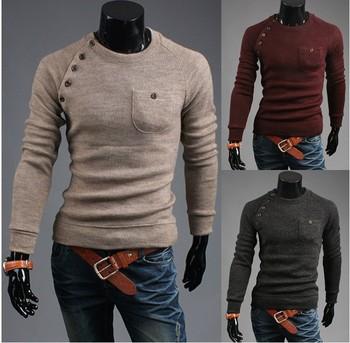 Бесплатная доставка Мужчины ретро выращивания хлопка свитер V шеи поло свитер для мужчин мода кашемировый свитер