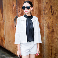 Zz 2013 new arrival ladies small cutout lace three quarter sleeve short jacket female zd06090