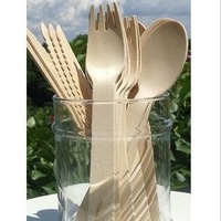 16cm Disposable  wholesale birch quality knife  fork spoon outdoor  tableware western-style food tableware