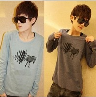 Silk male t-shirt clothes male long-sleeve T-shirt men's clothing male autumn t shirt 2013