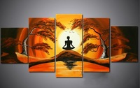 5 panels Combination Oil Painting  on Canvas  african Sun tree ocean landscape Decor painting & calligraphy