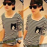 Stripe t-shirt clothes male long-sleeve T-shirt men's clothing male autumn t shirt 2012