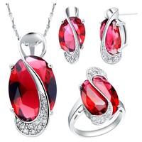 Sterling 925 Silver Jewelry Set Wedding Love Oval Blue Red Purple Sapphire Stone CZ Zircon Ring Pendant Earrings Finely Cut