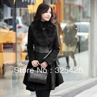 Fashion  Newest Autumn Winter Women Coat,Plus Size Slim Fur Collar Coats With Belt,Elegant Wool Overcoat