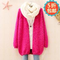 Autumn women's fashion color block mohair sweater outerwear loose 309m738