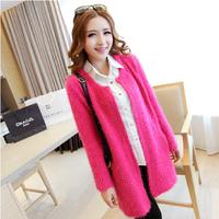 2013 autumn and winter fashion women's long-sleeve medium-long mohair cardigan outerwear sweater