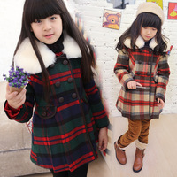 Children's clothing female winter child 2013 plaid preppy style female big boy child wool coat cotton-padded coat