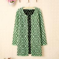 2013 autumn women's medium-long o-neck mohair cardigan sweater fashion outerwear sweater female
