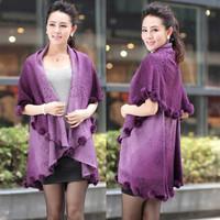 2013 autumn middle-age women sheep fur shawl quinquagenarian plus size sweater outerwear medium-long cardigan