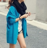 2013 autumn the trend of female loose pocket blue cardigan sweater fashion sweater