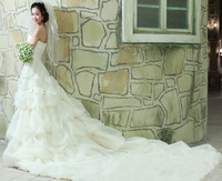 2013 sweet vintage bandage tube top wedding dress princess big train wedding dress