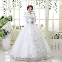 2013 wedding formal dress married winter fur collar long-sleeve wedding dress fashion maternity fashion bag