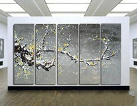 Huge 5panels per set group Wall Art Oil Painting On Canvas yellow snow Plum Flowers Tree landscape Decor painting & calligraphy