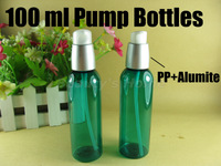 100ml exquisite  alumite pump green refillable bottle make up Bottles Small Empty Bottle Wholesale free shipping#1849