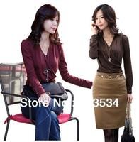 Good quality base shirt new fashion 2013 winter elegant blouses for women & women T-shirt bodysuits with 4 colors optional