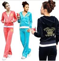 Spring and autumn velvet sportswear set pleuche casual set fashion sweatshirt women's
