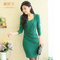Cheap Plus size clothing 2013 winter o-neck long-sleeve dress zipper decoration slim one-piece dress