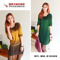 Cheap Plus size clothing 2012 new arrival autumn and winter new arrival long design dual sweater one-piece dress n3820