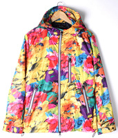 Vintage HARAJUKU hiphop all-match outdoor waterproof jacket trench autumn and winter oil painting flower male outerwear