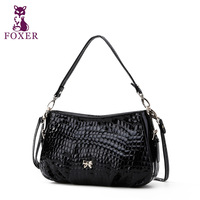 FOXER new 2013 women messenger bag crocodile pattern women leather handbags ladies shoulder bags famous brands vintage totes