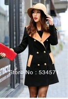 Euro fashion top grade overcoat slim figure double breasted zipper pockets turn-down collar solid plus size wool blends coat