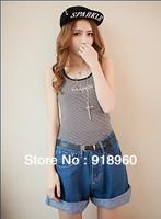 New Big Size 5XL-6XL summer short jeans Women's Shorts/good quality large Size waist 87-89cm Empire Waist Short pants/Wtl