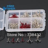 Fishing hook lure bait hooks, six kinds of size hooks Kit High carbon steel hooks,125pcs/lot +BOX free shipping