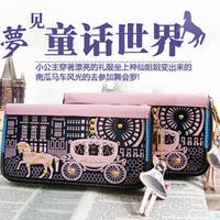 2013 small carriage women's wallet cartoon design long zipper girls clutch