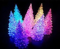 Free shipping 3pcs Novelty Colorful dream crystal christmas tree night light colorful Christmas small gift