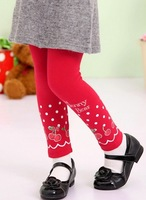 free shipping 5pcs/lot 100% cotton children's Leggings fashion Princess girls lovely straight type cherry tights