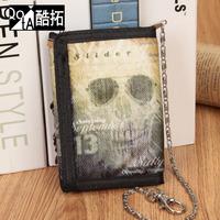 Denim canvas doodle male sunglasses skull design short wallet male purse bank card bag gift
