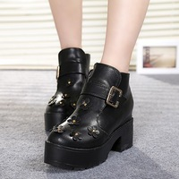 2013 autumn thick heel martin boots sweet flower high-heeled boots taojian buckle female women's ankle boots shoes