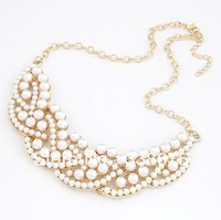 (min mixed order $9) 2013 New Fashion Vintage Pearl Gold Alloy Choker Necklace Jewelry Products for Women