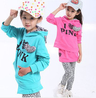 Free shipping ! 2013 new autumn and winter girls leopard splicing leisure sweater suit  CQTZG012