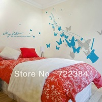 The butterfly wall stickers romantic bedroom the head of a bed wall of sitting room/sofa TV setting wall/room decoration